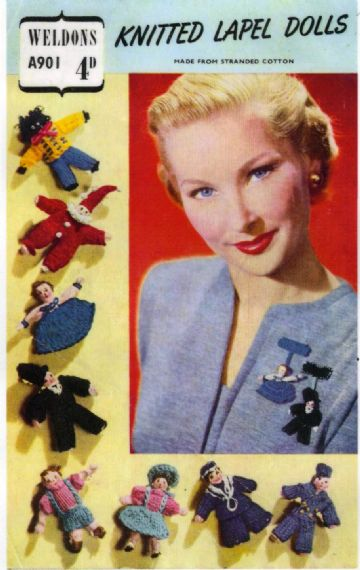 PDF Vintage Knitting Pattern to make Pretty Assorted Ladies Lapel Dolls or Soft Toys